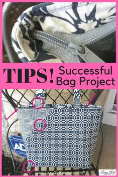 Use these expert tips to guarantee your next bag project is a success. #LazyGirlDesigns #LazyGirlBag #Zipper #Zippers #SewingTip #SewingIdeas #ZipperBag #DontFearZippers #Sewing #ZipperedBagpattern #SewingTutorial Bag Patterns To Sew, Tote Pattern, Sewing Patterns, Burda Patterns, Small Zipper Pouch, Zipper Bags, Dress Sewing Tutorials, Sewing Projects, Sewing Hacks