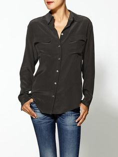 Black Silk Button Down Blouse by Equipment. Buy for $218 from Piperlime