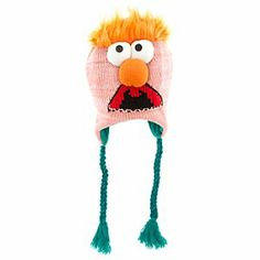 Disney The Muppets Beaker Knit Hat | Disney StoreThe Muppets Beaker Knit Hat - Heat up your fashion formula wearing Beaker's cool knit cap with a homespun crocheted look on the outside and warm fuzzy fleece in the lining. Bulging button topped eyes and nose, faux fur topper and braided ties add to the Muppets fun. $21.95 // I think my sister would love this!