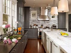 White And Grey Kitchen Ideas kitchen | gray quartz countertops, shaker style kitchens and apron