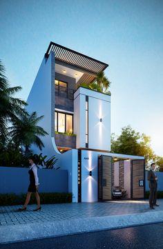 Nhà phố 5x20 on Behance Modern House Facades, Modern Exterior House Designs, Dream House Exterior, Modern House Plans, Modern House Design, Narrow House Designs, Latest House Designs, Home Building Design, Building A House