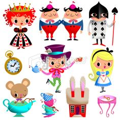 Alice in Wonderland. Part II. Royalty Free Stock Vector Art Illustration