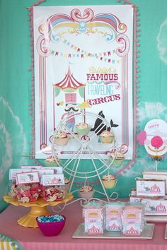 Adorable Girls Circus Party by Wants and Wishes Party Planning! This circus party is so fun and colorful! We love the festive details! Featured on Designdazzle.com