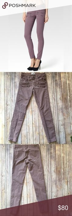 """Paige Edgemont Zippered Skinny Jeans Plum Smoke 26 😍. No description needed - this beauty speaks for itself! Paige Edgemont jeans in Plum Smoke. Ultra skinny with exposed zipper detail (FYI those aren't pockets, just decoration!) inspired by the LA rock scene - super edgy chic! Front rise approx. 7.5"""", inseam approx. 28.5"""", and waist approx. 13.5"""" across. Excellent pre-loved condition with no visible signs of wear! 🤗  🚫no trades 🚫no modeling ✅dog friendly/🚭smoke free home ✅reasonable…"""