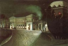 Tivadar Csontvary Kosztka, The Eastern Railway Station at Night, Whereabouts unknown. Fabulous Railway Station Paintings from the Golden Age of Train Travel National Railway Museum, Green Landscape, Colorful Paintings, Painting Edges, Claude Monet, Train Travel, The World's Greatest, Beautiful Landscapes, Golden Age