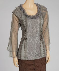 Love this Pretty Angel Gray Lace Linen-Blend Top by Pretty Angel on #zulily! #zulilyfinds