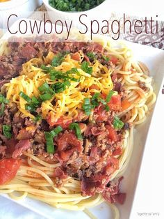 COWBOY SPAGHETTI   ground beef, pastrami, olives, tomatoes over tender pasta with a garnish of green onion and cheese! http://www.togetherasfamily.com