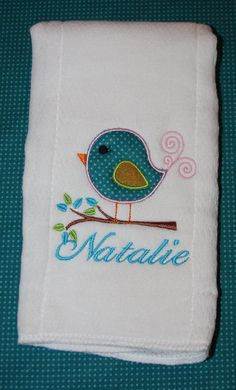 Personalized birdie applique burp cloths by KenaKreations, $12.00