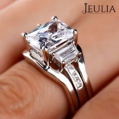 Breathtaking Princess Cut Engagement Rings ❤ Find Your Unique Designer Rings. Be Different. Be Unique. Gorgeous inlay engagement rings, handmade in the US, made just for you. Choose your inlay stone, metal and diamond for a truly unique look. Jeulia Interchangeable Three Stone Radiant Cut Created White Sapphire Wedding Set 2.1CT | The Jeulia Jewelry #JeuliaJewelry #princesscutring