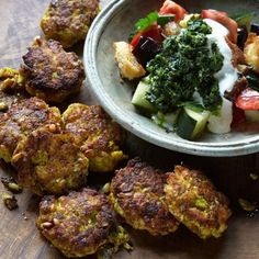 Sweet spiced fishcakes with bread salad I Ottolenghi recipes I If you're short on time, serve with just a lemon wedge, but the salad's well worth a go, too. Serves four.