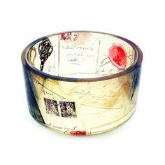Bangle, bracelet, chunky, resin, Love Letters, vintage style resin bangle, photo bangle by BuyMyCrap