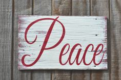 Christmas Sign Christmas Decor Holiday Sign Peace Rustic Weathered Wood Sign…