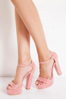 Casavie - Veronica Tek Bantlı Kalın Pudra Topuklu Ayakkabı
