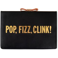 Rental kate spade new york accessories Pop Fizz Clink Clutch ($99) ❤ liked on Polyvore featuring bags, handbags, clutches, accessories, black, real leather handbags, black leather purse, black bow purse, black handbags and black rose purse