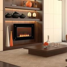 Modern Home Electric Fireplace Design Ideas & Pictures Wall Mounted Fireplace, Wooden Fireplace, Home Fireplace, Fireplace Inserts, Fireplace Design, Fireplace Ideas, Tiled Fireplace, Napoleon Electric Fireplace, Modern Interiors