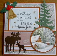 Christmas Time, Christmas Crafts, Xmas, Moose Animal, Marianne Design, Animal Cards, Card Making Inspiration, Tim Holtz, Cardmaking