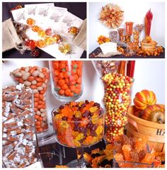 Love the colors of the fall candy bar;  add harvest basket with fresh apples or mini pumpkins