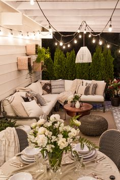 cozy neutral patio with a lot of texture