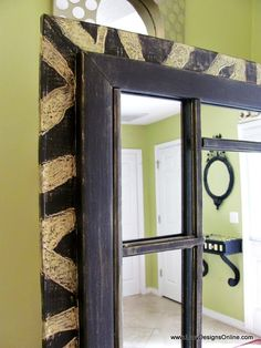 FJK Dremel Carved Zebra Pattern on 6 Foot Wood Leaner Mirror Frame, DIY Mirror Makeover Using Recycled Muntins (this site is great with illustrations and directions for Dremel)