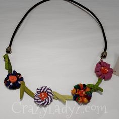 Ficklesticks 4 flower necklace Fabric Beads, Fabric Jewelry, Fabric Scraps, Flower Necklace, Crochet Necklace, Scrap Fabric Projects, African Textiles, So Little Time, Fabric Flowers