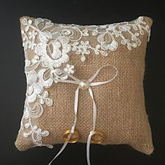 Square Ring Pillow in Lace/Linen With Ribbons/Faux Pearl - JJ's House Ring Bearer Pillows, Ring Pillows, Burlap Pillows, Decorative Pillows, Wedding Ring Cushion, Wedding Pillows, Cushion Ring, Flower Pot Art, Pearl Embroidery
