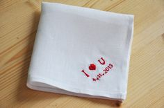 I love U Hand embroidered customized monogrammed by KittyHKcraft