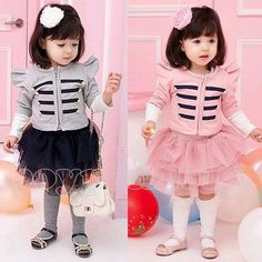 #cute #militaryFashion #jacket in #pink or #grey with #tutu for your little #girl or #fashionista! Only $18.99 for the two piece!