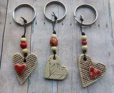 Items similar to Ceramic Heart Keychain, clay heart pottery heart keychain gift tag ceramic heart ornament stoneware handmade ceramics and pottery on Etsy Ceramic Jewelry, Polymer Clay Jewelry, Wire Jewelry, Jewellery, Cerámica Ideas, Clay Ornaments, Paperclay, Hanging Hearts, Heart Ornament