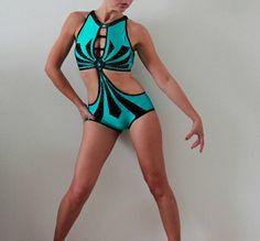 Pole dance costume body monokini colore Giada di CrinolinAtelier