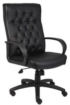 Boss Office Products B8502-BK Boss Button Tufted Executive Chair In Black W/ Knee Tilt
