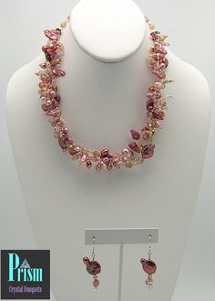 Unique Peachy Pink Necklace Set by PrismBouquets on Etsy, $45.00