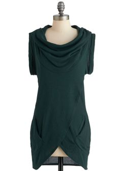 love the colour!   Green, Solid, Pockets, Casual, Short Sleeves, Fall, Long  from modcloth