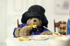 "Paddington Bear and his Peruvian Marmalade Sandwiches. ""Seagulls don't know everything … I always keep a marmalade sandwich under my hat, just in case! Paddington Bear, Teddy Hermann, Spectacled Bear, Birthday Hug, Birthday Wishes, Bear Signs, Bear Card, Kids Tv, 90s Kids"