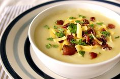 Potato Cheddar Soup - made with leftover mashed potatoes--this an amazingly easy soup, very comfortable and tasty. Highly recommend!!