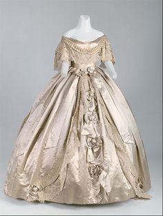 19th Century Fashion History   Historic clothing- Mid-19th Century / Wedding gown or evening ensemble ...