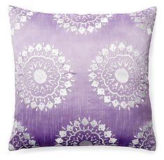 One Kings Lane - Global Touches - Falguni 20x20 Embroidered Pillow, Purple