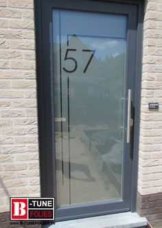 Glass etched window film, with number Glass Sticker Design, Frosted Glass Sticker, Frosted Glass Design, Frosted Glass Door, Glass Porch, Glass Front Door, Sliding Glass Door, Black Front Doors, Modern Front Door