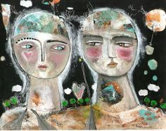 Mixed Media Painting Print  Expressive Couple In Love kitty jujubes