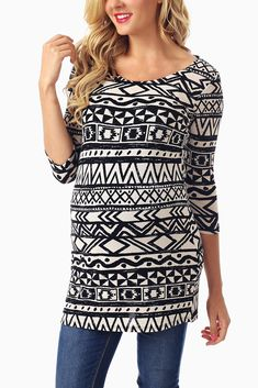 White Black Tribal Printed 3/4 Sleeve Maternity Top #pinkblush #maternityclothes #maternityonlinestores #maternityoutfits