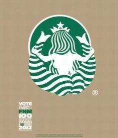 Siren turning her back–Starbucks iconic logo