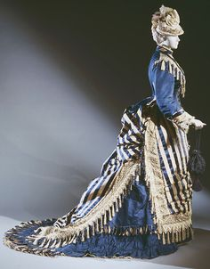 Dress (Bodice And Skirt) Made Of Silk With Stripes Of Dark Blue Satin And Tan Plain Weave, Dark Blue Silk Faille, Ivory Silk Embroidery On Silk Net, Ivory And Dark Blue Silk Fringe - Designed By Emile Pingat (French, - France - Philadelphia Museum Of Art Victorian Gown, Victorian Costume, Victorian Steampunk, Victorian Fashion, Vintage Fashion, Historical Costume, Historical Clothing, Historical Dress, Vintage Gowns