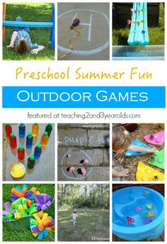 When the weather is nice, get outside and try some of these outdoor games that preschoolers love. Each one gets the body moving while also building skills! #outdoors #grossmotor #movement #games #skills #play #summer #preschool #age3 #age4 #teaching2and3yearolds Field Day Activities, Activities For 2 Year Olds, Summer Activities, Toddler Activities, Toddler Snacks, Preschool Summer Camp, Toddler Play, Preschool Colors, Preschool Activities
