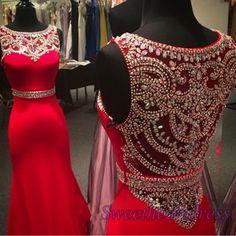 Beautiful red chiffon long prom dress, ball gown, modest prom dress #coniefox…