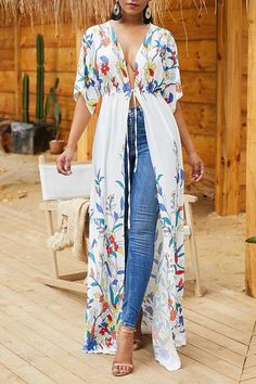 Shyfull Trendy X-long Floral Printed White Coat Mode Kimono, Short Sleeve Cardigan, Long Sleeve, Bat Sleeve, Bikini Cover Up, Swimsuit Cover, Mode Inspiration, Printed Blouse, Half Sleeves
