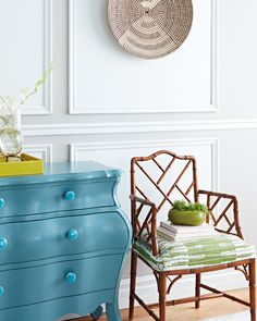 Refresh your space with paint! See how H&H's Reiko Caron created a two-tone panelled treatment on walls, refurbished an old dresser and gave new life to thrift store accessories all using Sherwin-Williams Emerald paint and primer in one. Paint Furniture, Furniture Makeover, Blue Dresser, Old Dressers, Mid Century Modern Furniture, Diy Painting, Decoration, Easy Diy, Projects To Try