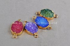 Oval Drusy Druzy Connector Double Bail Gold Plated by Druzyworld