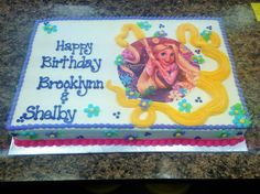"""Tangled"" themed birthday cake made with an edible image and delicious buttercream frosting."