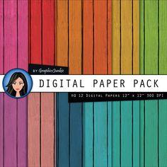 Wood digital paper Colorful Wood Digital by GraphicsJunkie on Etsy, $4.80