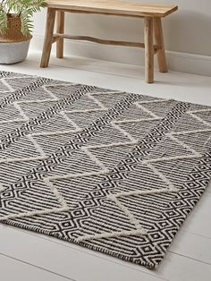 Crafted from cotton with a bold, geometric pattern in black and off-white and an additional tufted chevron effect to the finish, our statement rug is a must-have for any monochrome home. Perfect for your bedroom or living space, it has a short Grey Carpet, Rugs Uk, Living Room Carpet, Diy Carpet, Brown Carpet, Luxury Rug, Classic Carpets, Statement Rug, Room Rugs