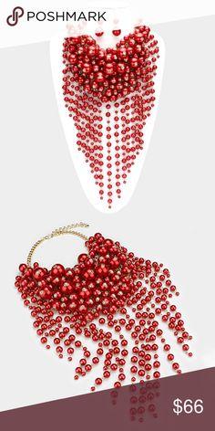 "• Pearl strand fringe bib necklace Set • Color : Red, Gold • Theme : Fringe, Pearl  • Necklace Size : 16"" + 3"" L • Decor Size : 12"" L  • Earrings Size : 2"" L • Pearl strand fringe bib necklace Set Jewelry Necklaces"